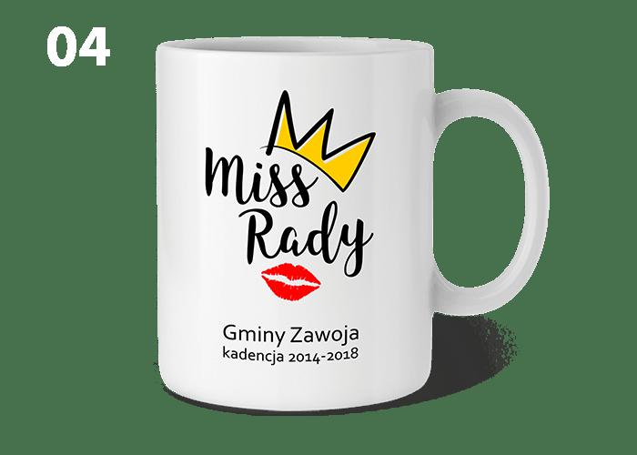Kubek z napisem MISS RADY może być ciekawą i praktyczną pamiątką dla każdej radnej na zakończenie kadencji.